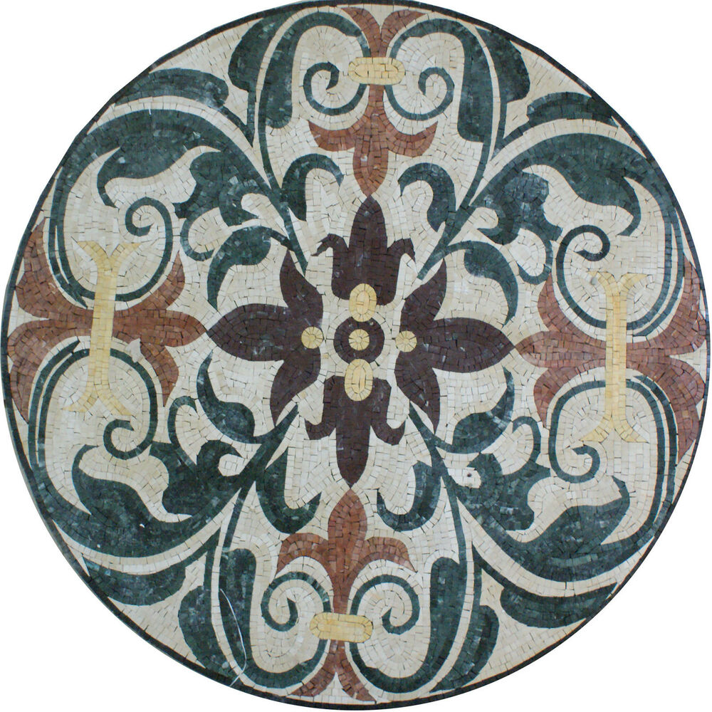 Medallion round decor floor forest interior home marble for Mosaic home decor