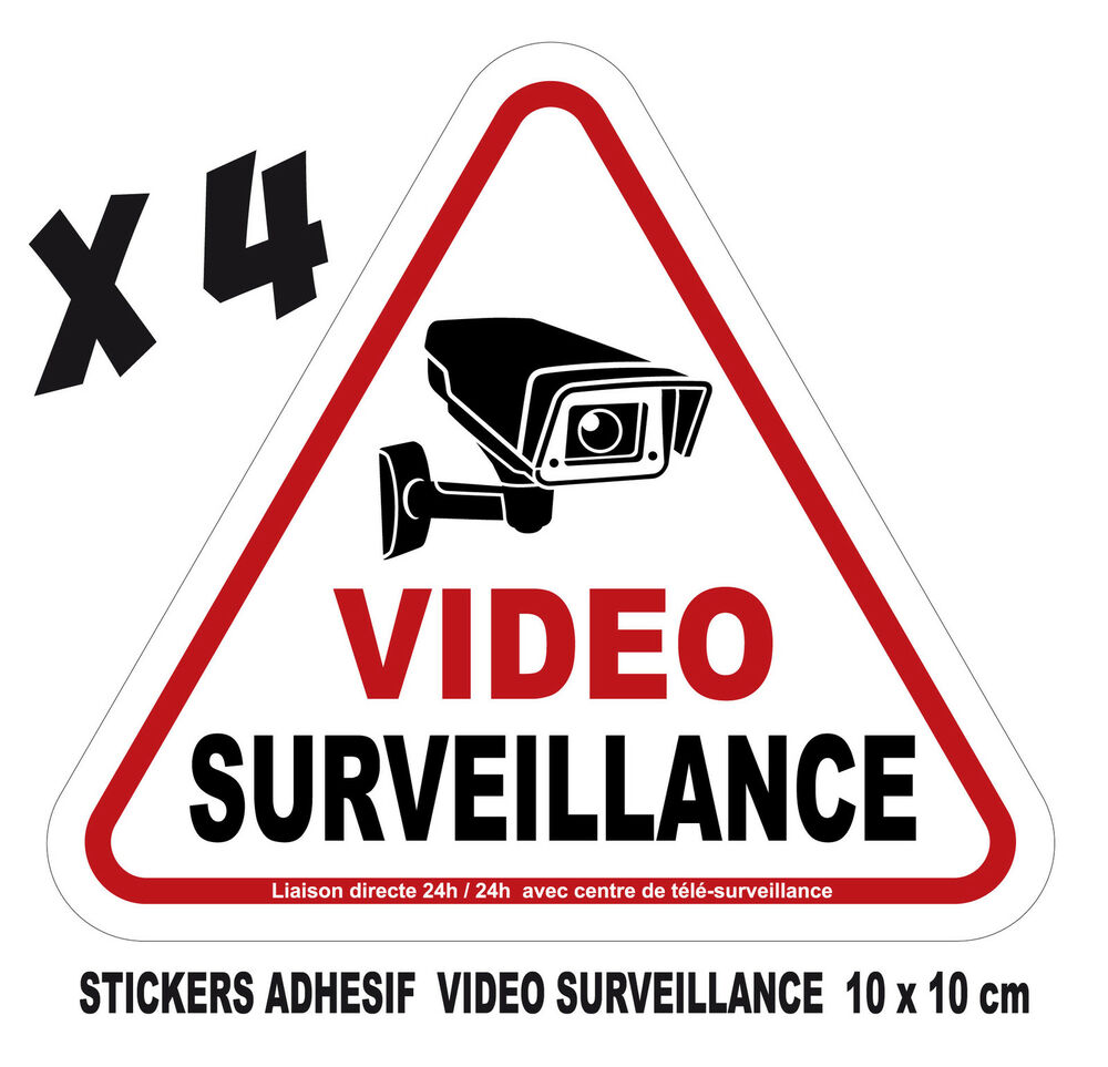 lot de 4 stickers adhesif camera video surveillance format 10x10cm ref sv01 ebay. Black Bedroom Furniture Sets. Home Design Ideas