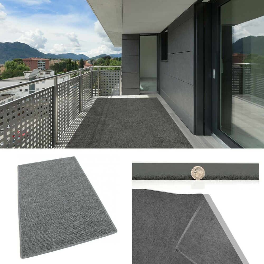 Gray indoor outdoor area rug non skid marine backing for Best indoor outdoor carpet