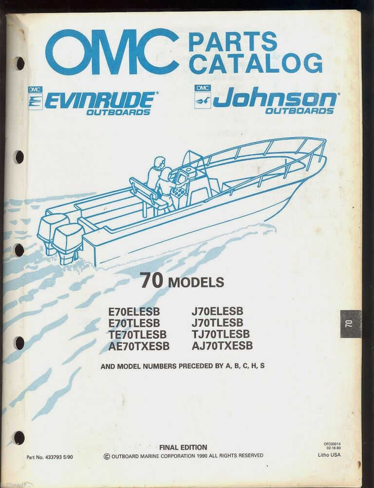 1990 Johnson    Evinrude 70 Hp Outboard Part Manual