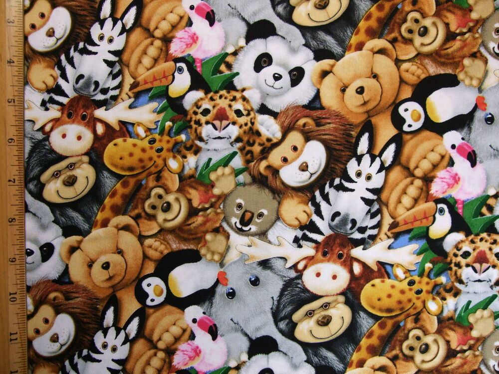 Stuffed Toys Animals Print cotton fabric BY THE YARD BTY ...
