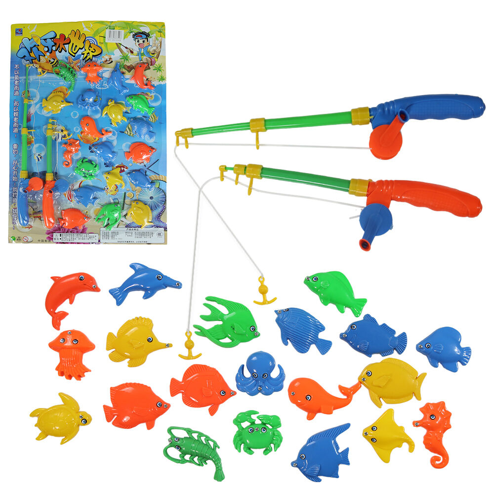 Magnetic fishing game set toy rod 20 fish catch hook pull for Baby fishing pole