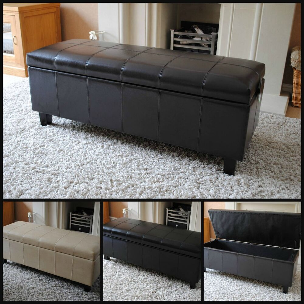 New Real Genuine Leather Brown Black Cream Ottoman Box