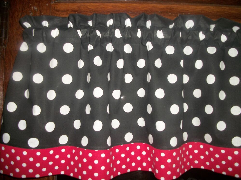 Black White Red Polka Dot Hello Kitty Minnie Mouse Fabric