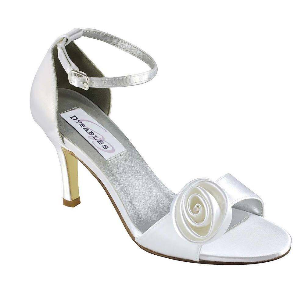 dyable wedding shoes dyeable white satin prom bridal kitten heel 3781