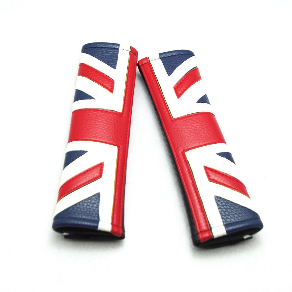 2 union jack car safety seat belt shoulder cushion pad. Black Bedroom Furniture Sets. Home Design Ideas
