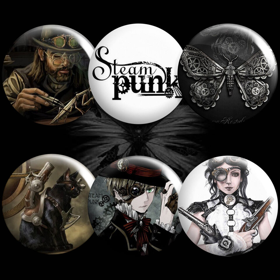 steampunk pin buttons mechanical steam punk rock badges pinback button pinbacks ebay. Black Bedroom Furniture Sets. Home Design Ideas