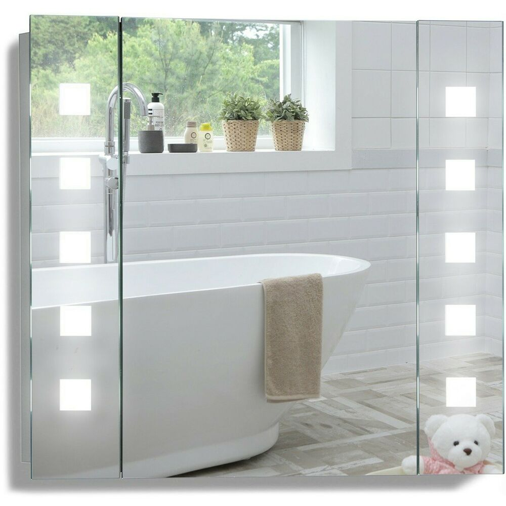 led illuminated bathroom mirrored cabinet 60x65cm demister