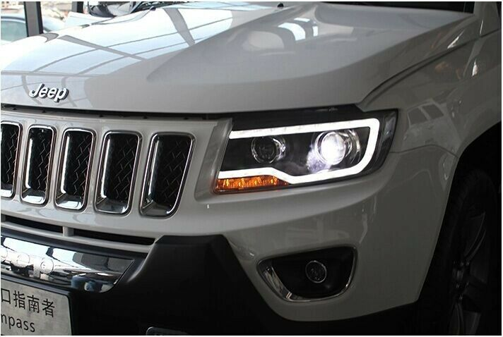 for 2011 2014 jeep compass headlights with led drl and bi. Black Bedroom Furniture Sets. Home Design Ideas
