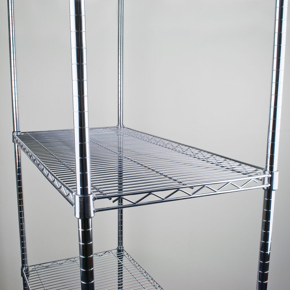 chrome wire shelving unit storage racking new heavy duty. Black Bedroom Furniture Sets. Home Design Ideas