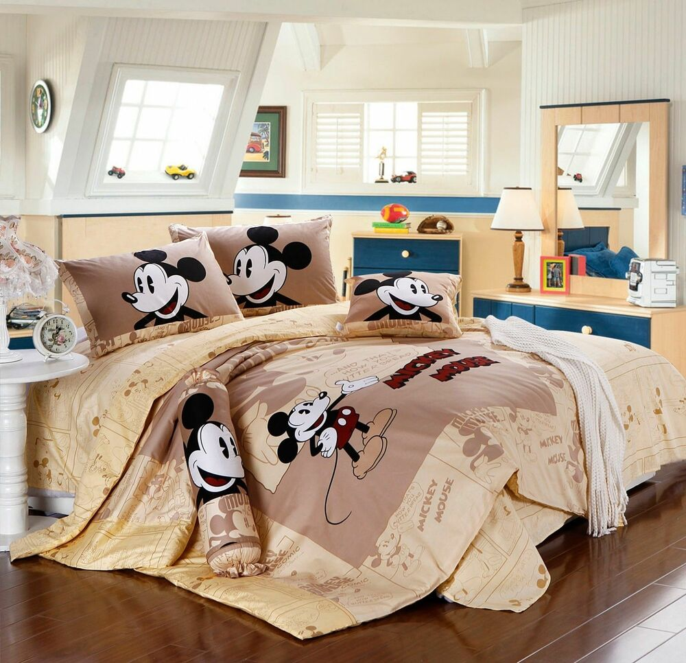Disney licensed mickey mouse 7pcs twin full queen size comforter in a bag ebay for Full size bedroom sets for adults