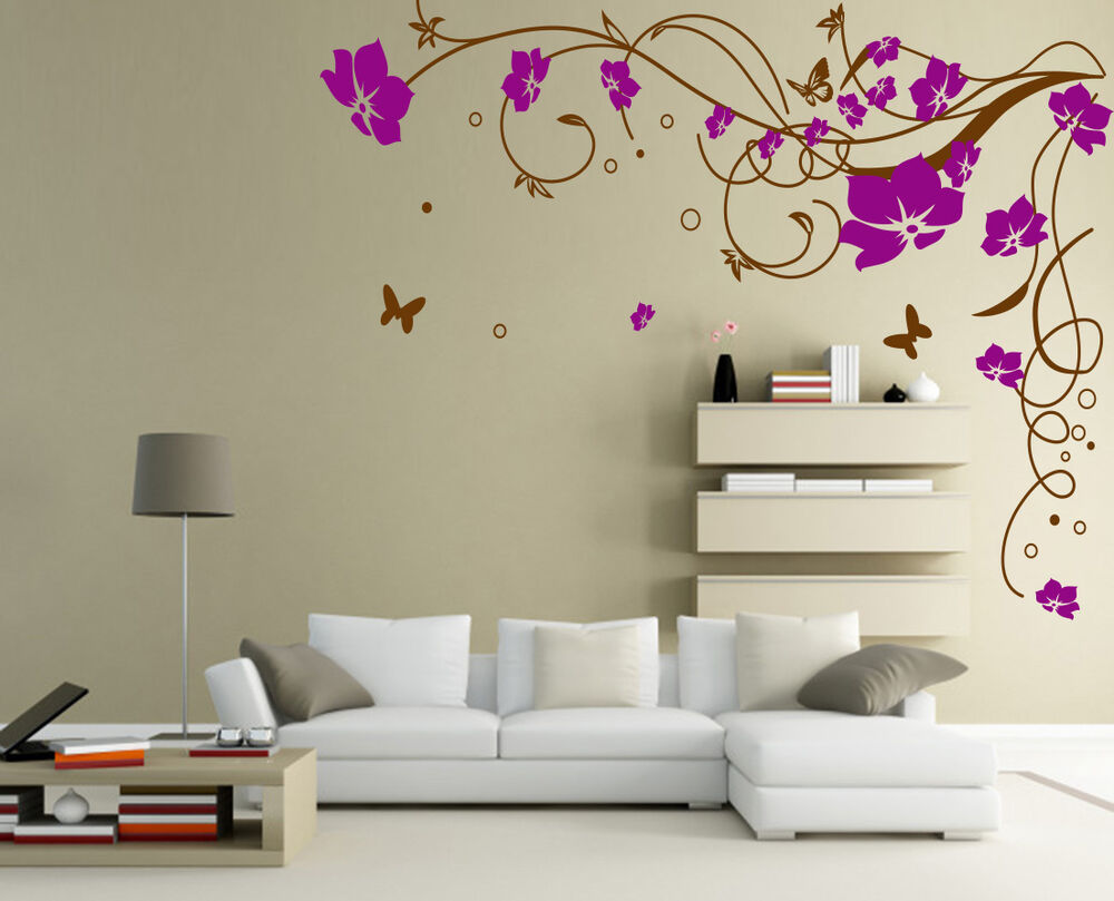 Large Floral Vine Flower Butterfly Wall Sticker Vinyl Art