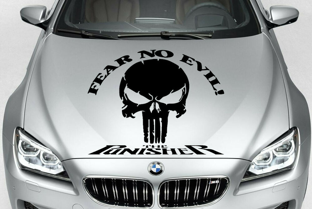 Punisher Skull Fear No Evil Vinyl Decal Hood Side For Car