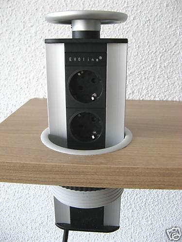 evoline port 3fach versenkbare steckdose tischsteckdose schulte powerport silber ebay. Black Bedroom Furniture Sets. Home Design Ideas