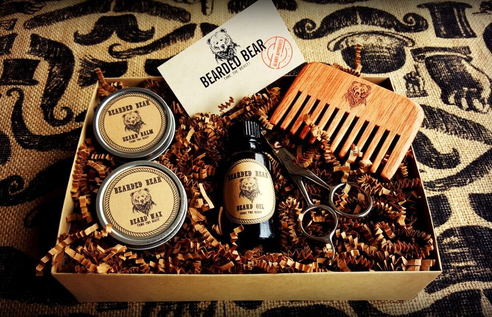 bearded bear beard grooming kit w scissor comb all natural ingredients ebay. Black Bedroom Furniture Sets. Home Design Ideas