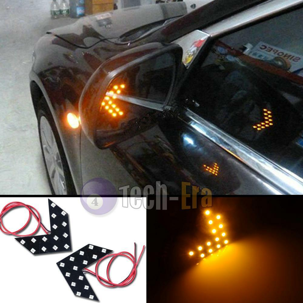 2pcs Amber Yellow 14 Smd Led Arrow Panels For Car Side