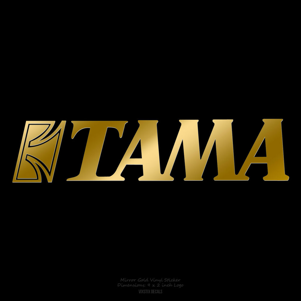 Tama drums logo 9 x 2 mirror gold logo sticker decal for for Yamaha bass drum decal