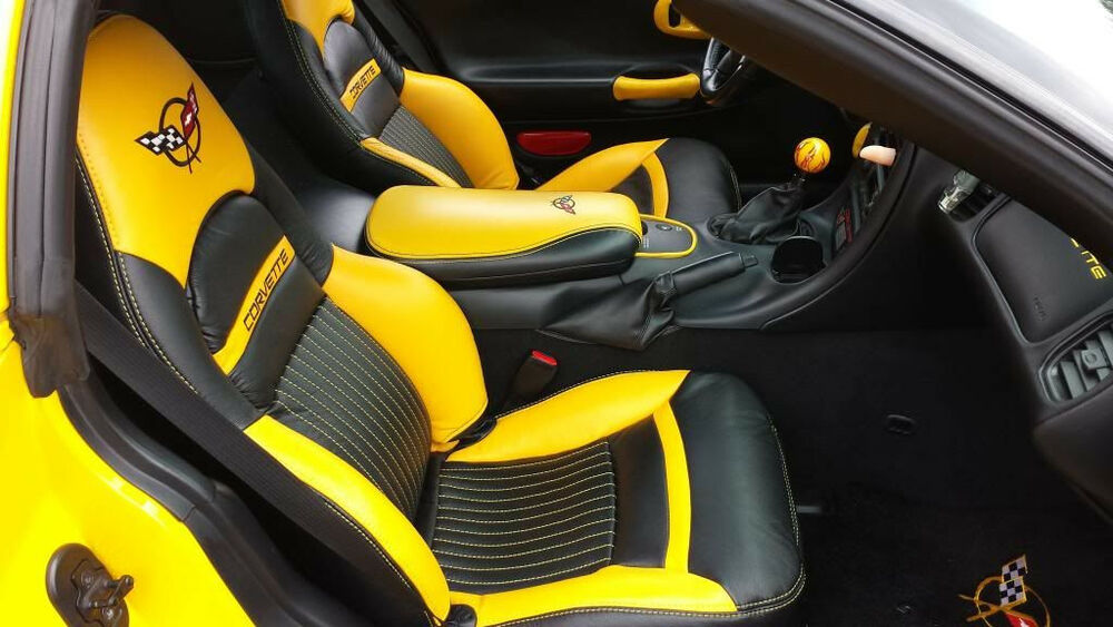 1997 2004 C5 Corvette Synthetic Leather Yellow And Black Covers For Sport Seats Ebay