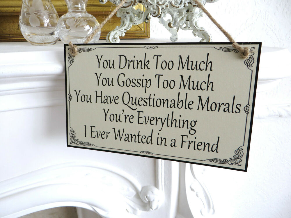 Friend Friendship Plaque Sign Funny Wooden Gift ALCOHOL