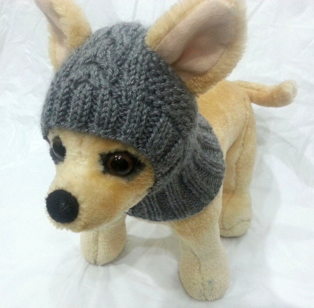 Pet Clothes Apparel Outfit Handmade Knit Gray Hoody Snow-Hat for Small Dog ...