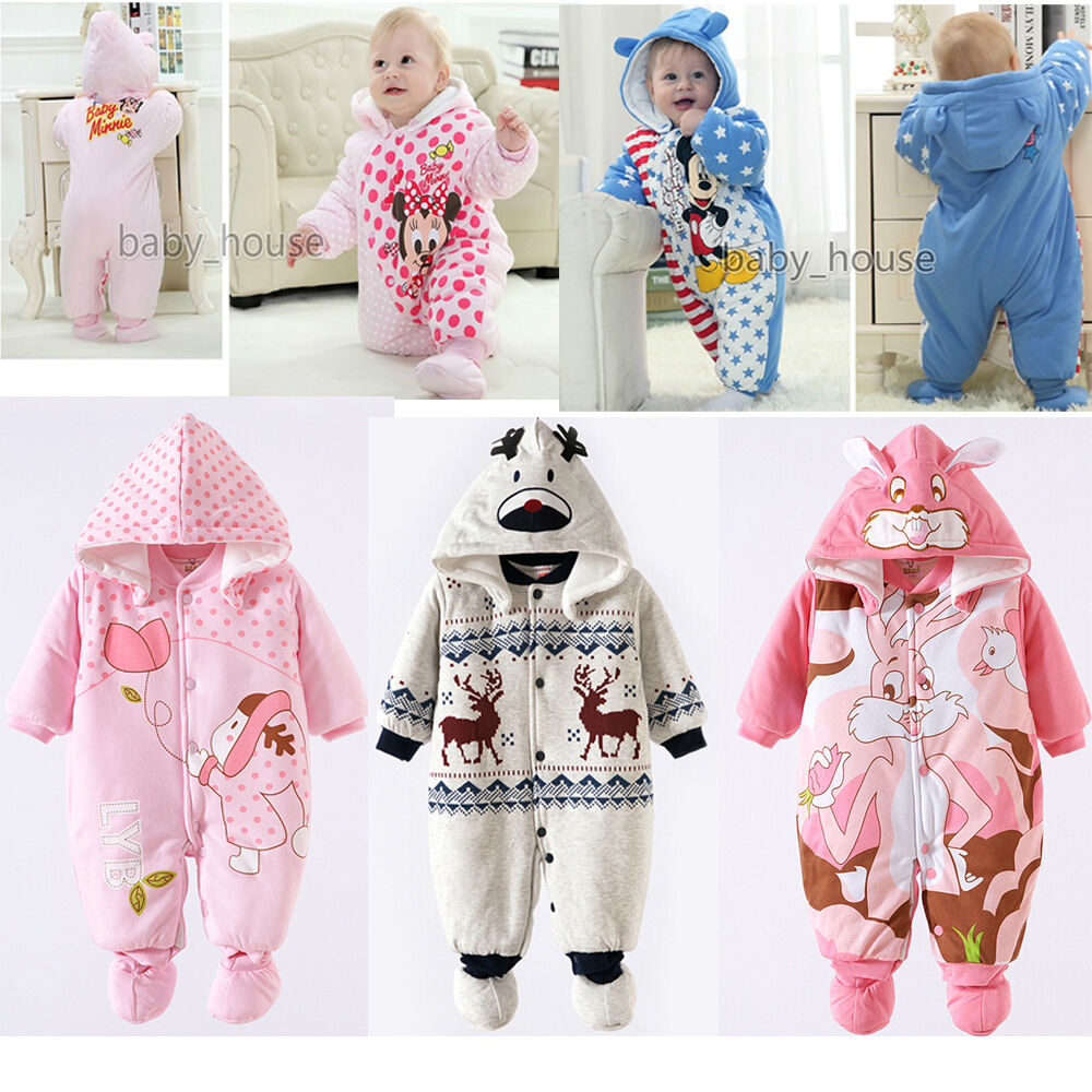 Cotton Newborn Baby Clothes Sets Girls Boy clothes Romper Winter Outwear Outfits | eBay