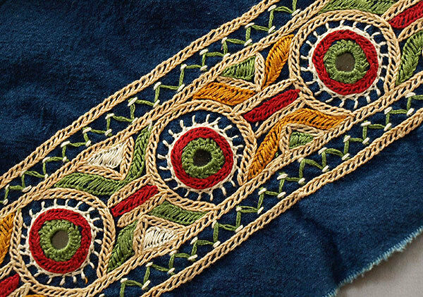 Blue hand embroidered tribal trim kutch india mirror