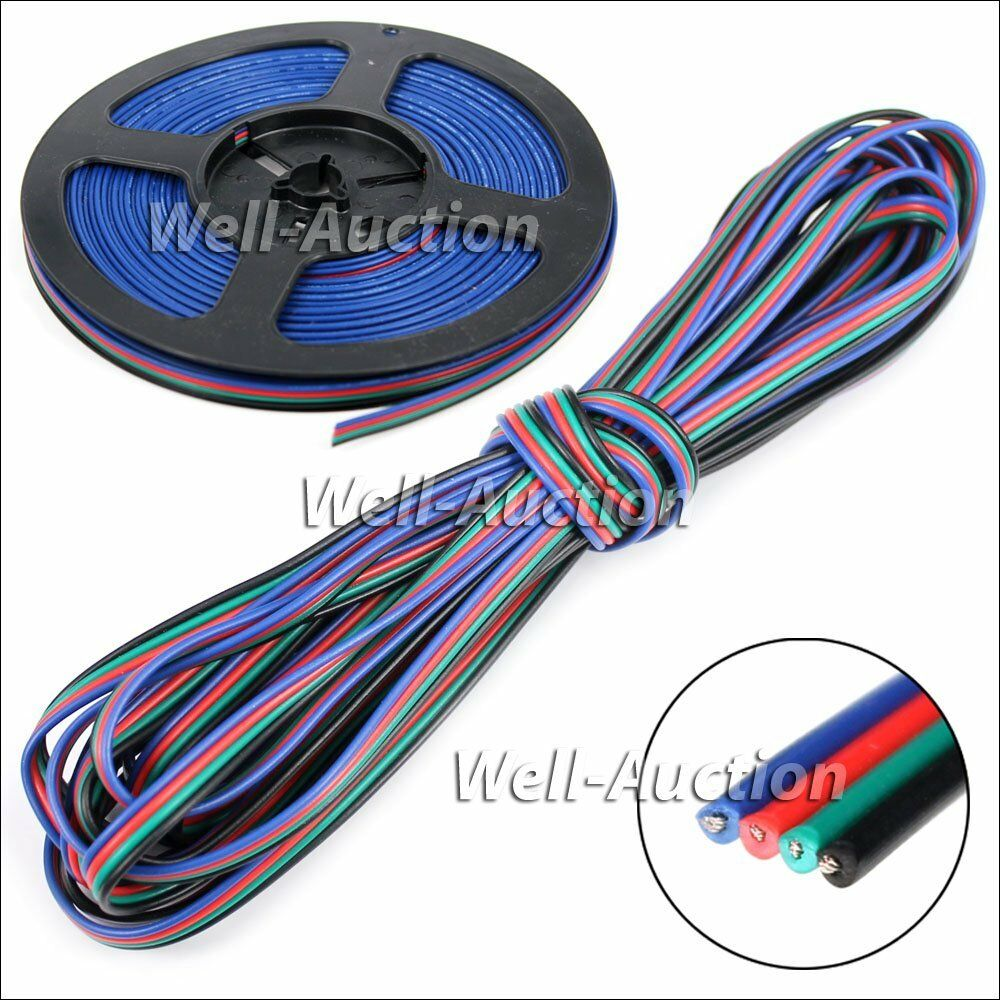 5 10m led rgb strip kabel 4 adrig verl ngerungskabel anschlusskabel verbindung ebay. Black Bedroom Furniture Sets. Home Design Ideas
