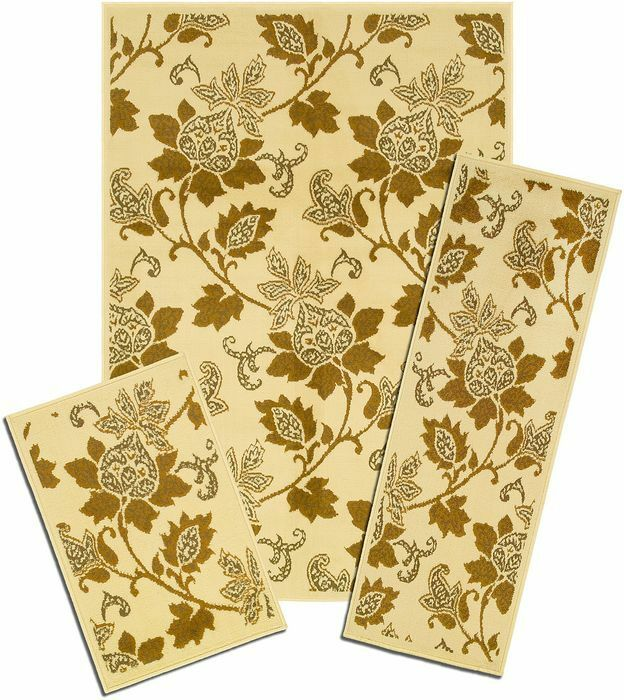 Capri 3 Piece Area Rug Set Floral Whisper Beige 817 373 I