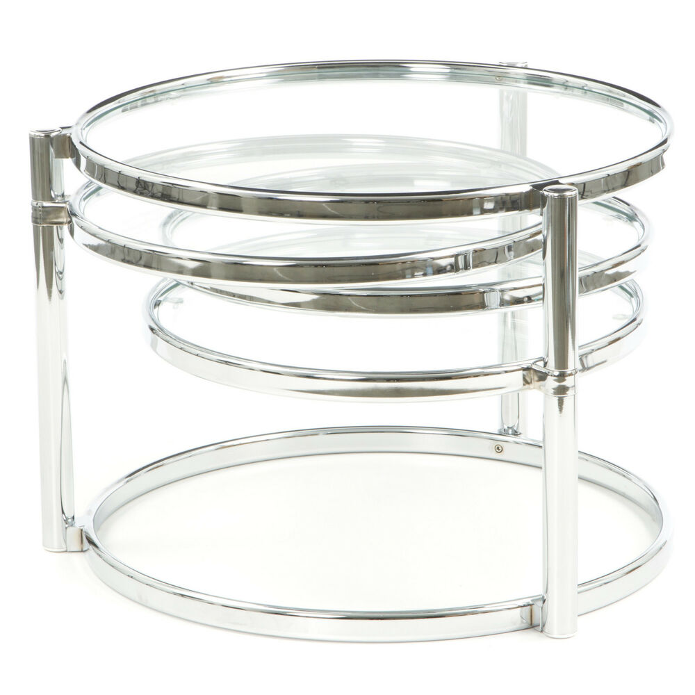 Cool Motion Expandable Contemporary Chrome Round Glass