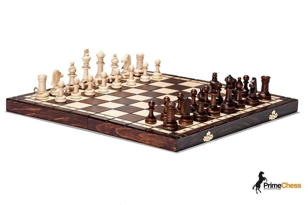 Brand new hand crafted tournament 76 wooden chess set 39cm for Hand crafted chess set