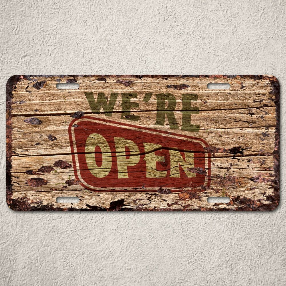 lp0131 store open close sign auto license plate rust vintage home decor sign ebay. Black Bedroom Furniture Sets. Home Design Ideas