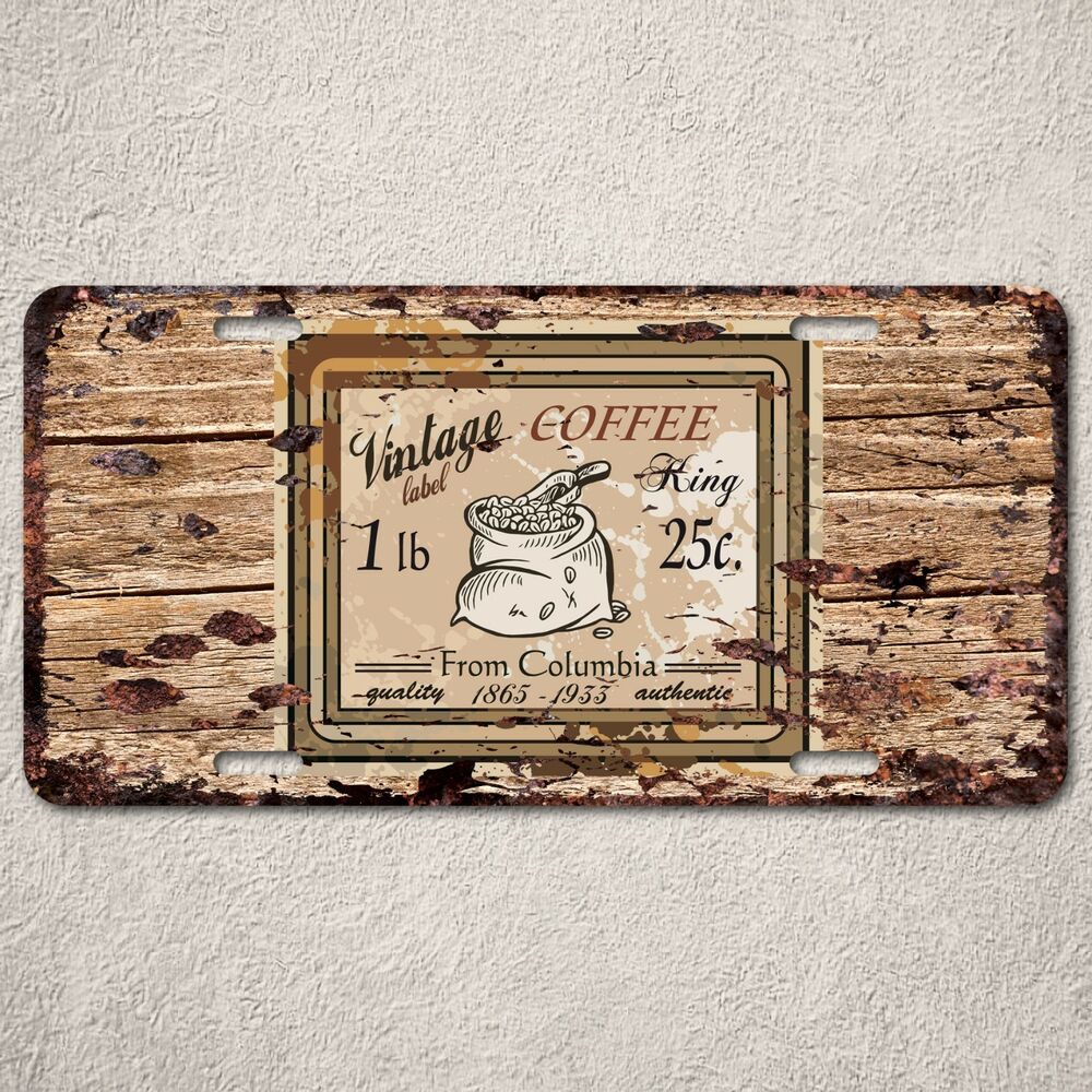 lp0137 vintage coffee sign auto car license plate rust home decor ebay. Black Bedroom Furniture Sets. Home Design Ideas