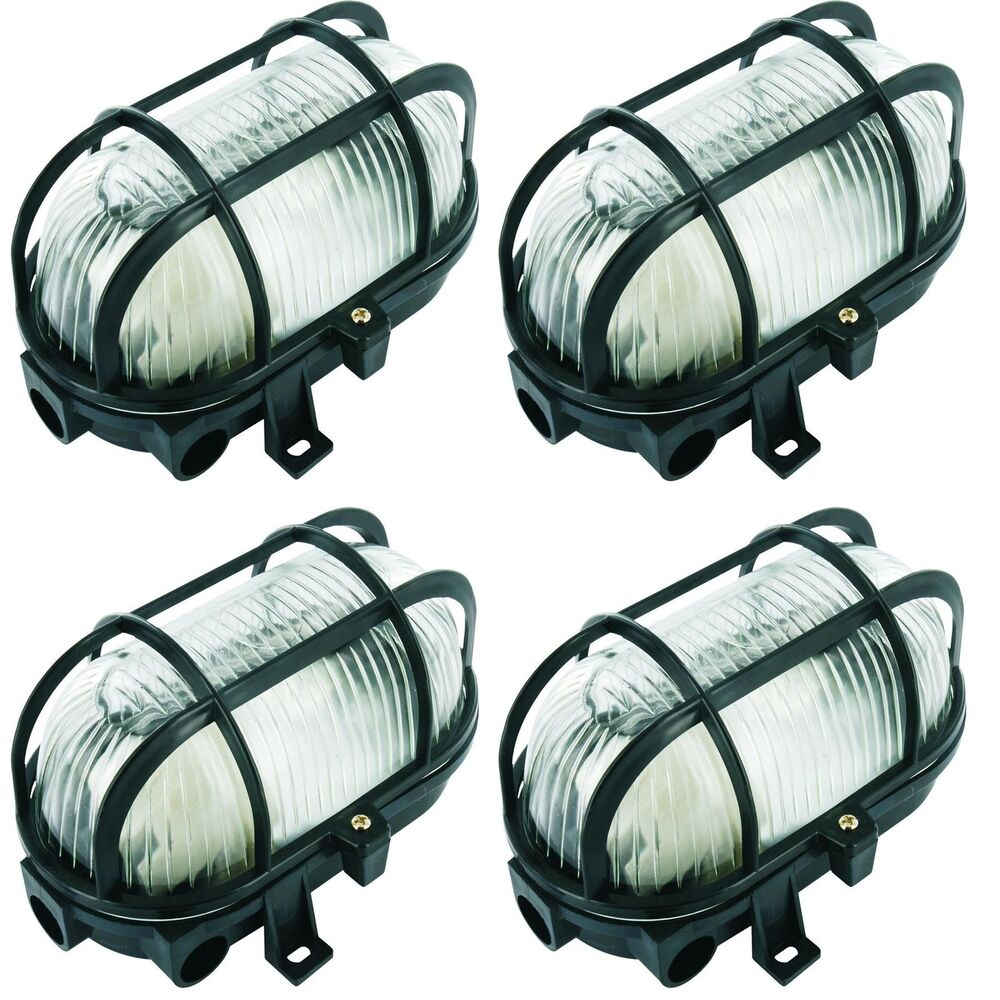 4 X Byron Black Oval Bulkhead Light Outdoor Garden