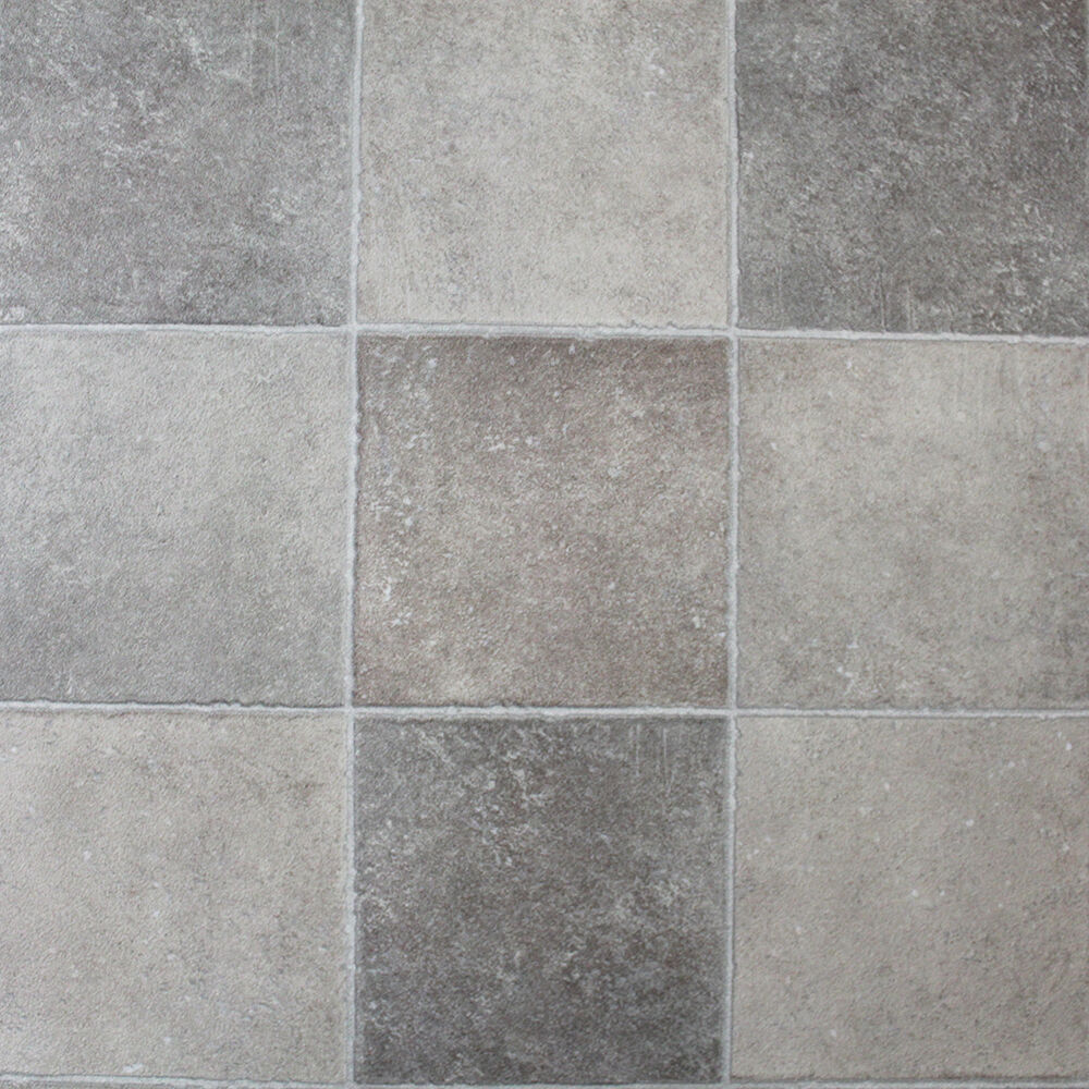 Light Stone Tiles Non Slip Vinyl Flooring Lino Kitchen Bathroom Ebay