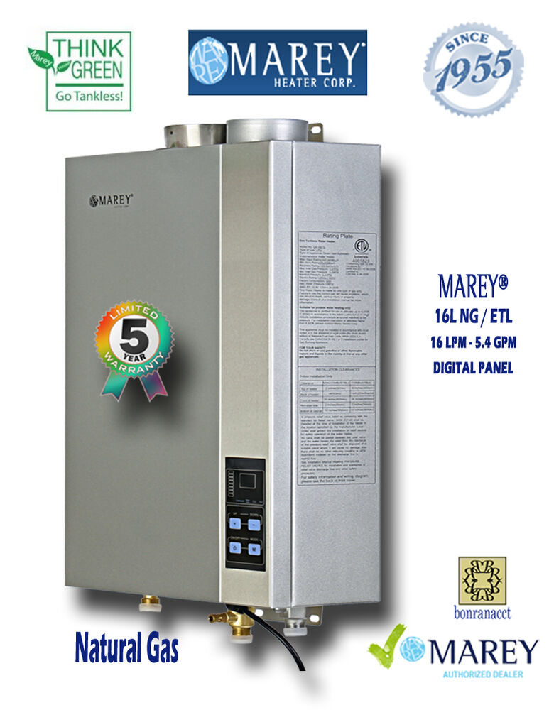 marey natural gas 5 4 gpm ga16ngetl tankless water heater whole house ebay. Black Bedroom Furniture Sets. Home Design Ideas