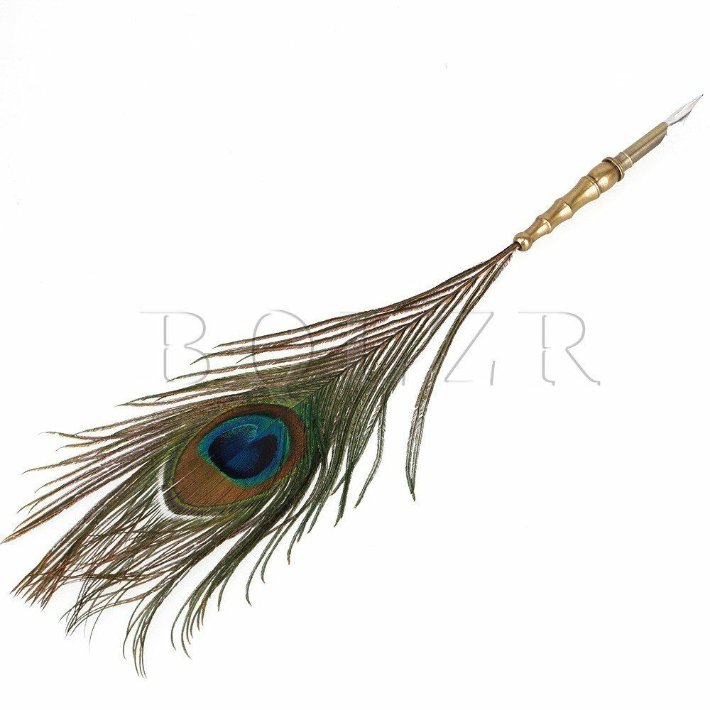 Antique Colorful Peacock Feather Quill Dip Ink Pen With