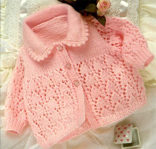 Knitting Pattern For Lace Collar : Knitting Pattern -DK Baby lace cardigan with collar pattern- fits 17-19 chest...