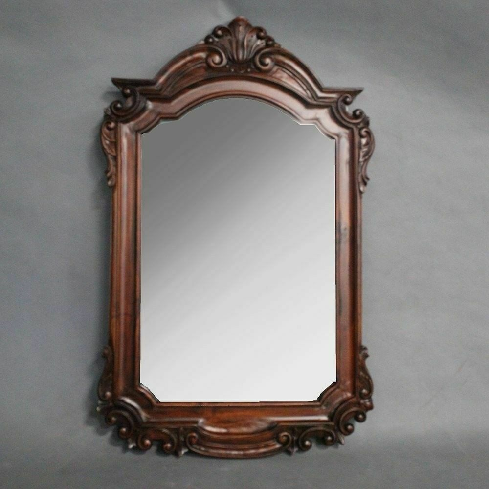 Solid mahogany wood large wall bevelled mirror antique for Antique style wall mirror