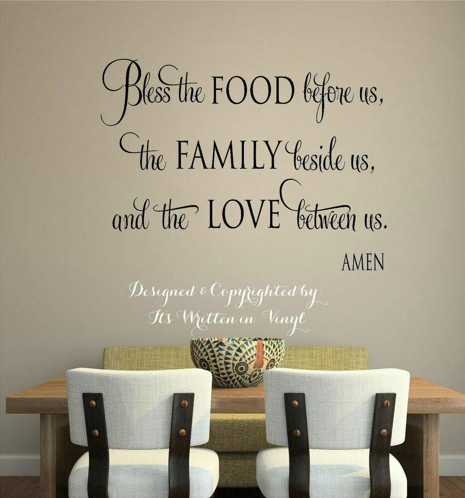 Word Wall Art Vinyl Lettering Home Decor ~ Bless the food vinyl lettering wall decal words home