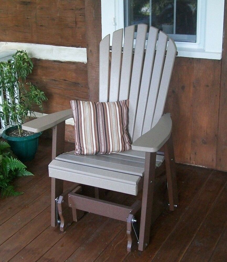 Fanback Adirondack Glider Chair Two Tone Colors Two