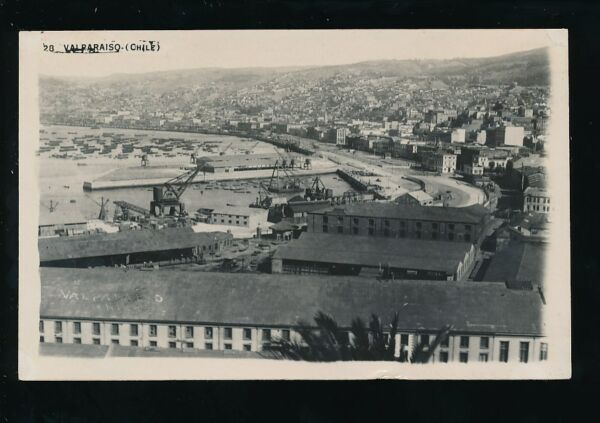 Chile VALPARAISO bay & harbour general view c1920/30s? RP PPC