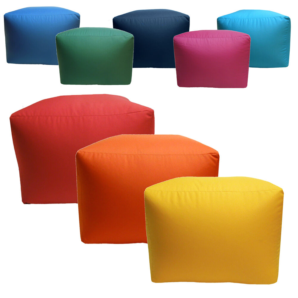 water stain resistant large square pouffe outdoor indoor patio furniture seat ebay. Black Bedroom Furniture Sets. Home Design Ideas
