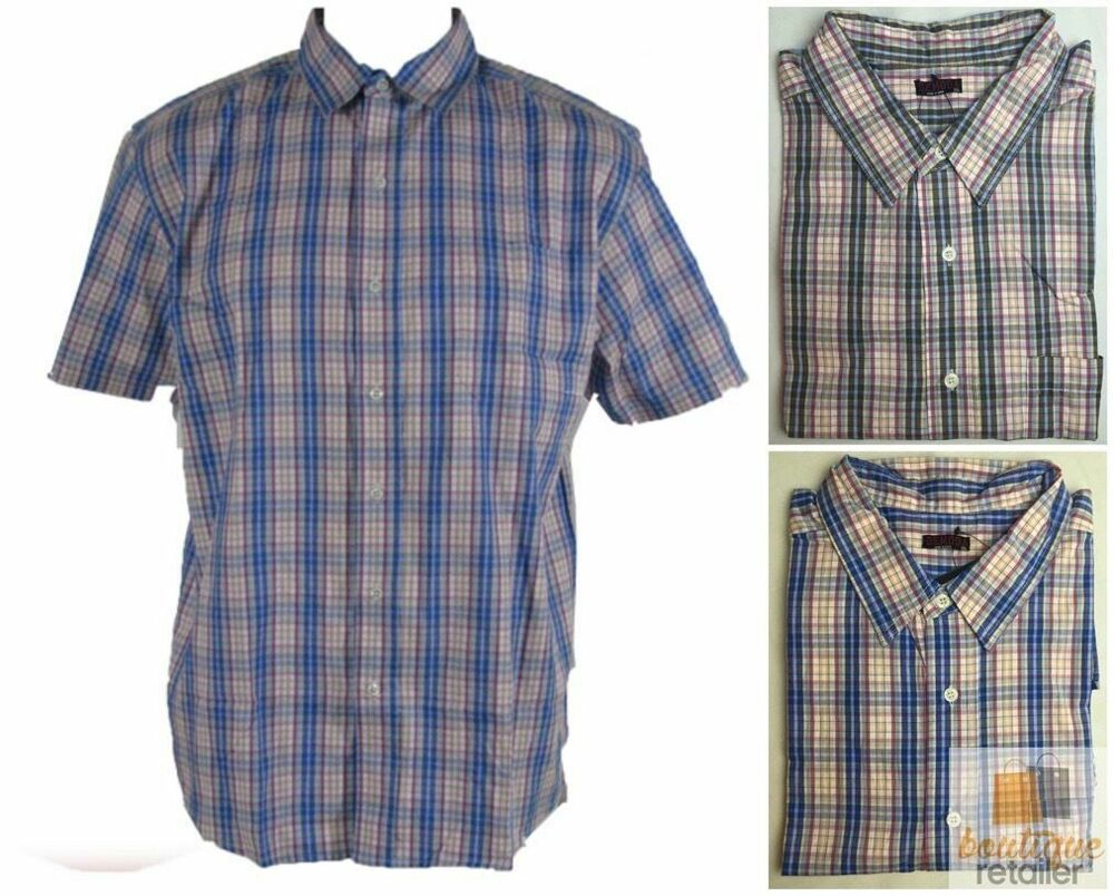 Plus size big mens check shirt extra large 100 cotton for Cotton dress shirts for men