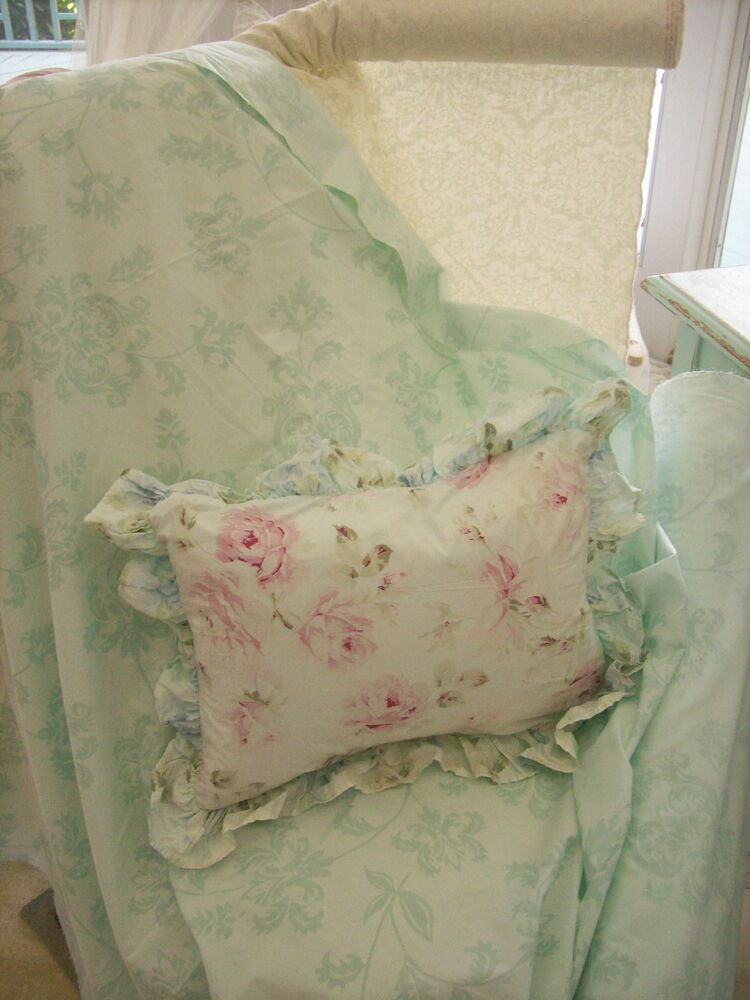 rachel ashwell shabby chic mystic aqua sea foam green floral damask fabric yard ebay. Black Bedroom Furniture Sets. Home Design Ideas