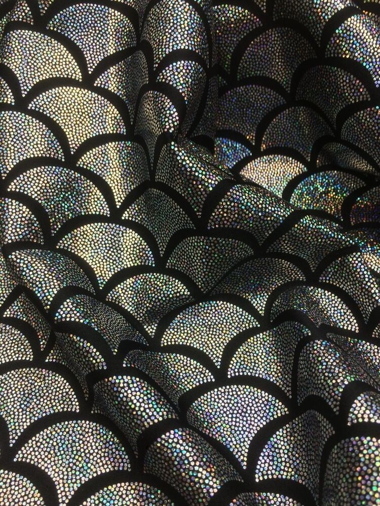 Silver spandex lycra mermaid small fish scale hologram for Fish fabric by the yard