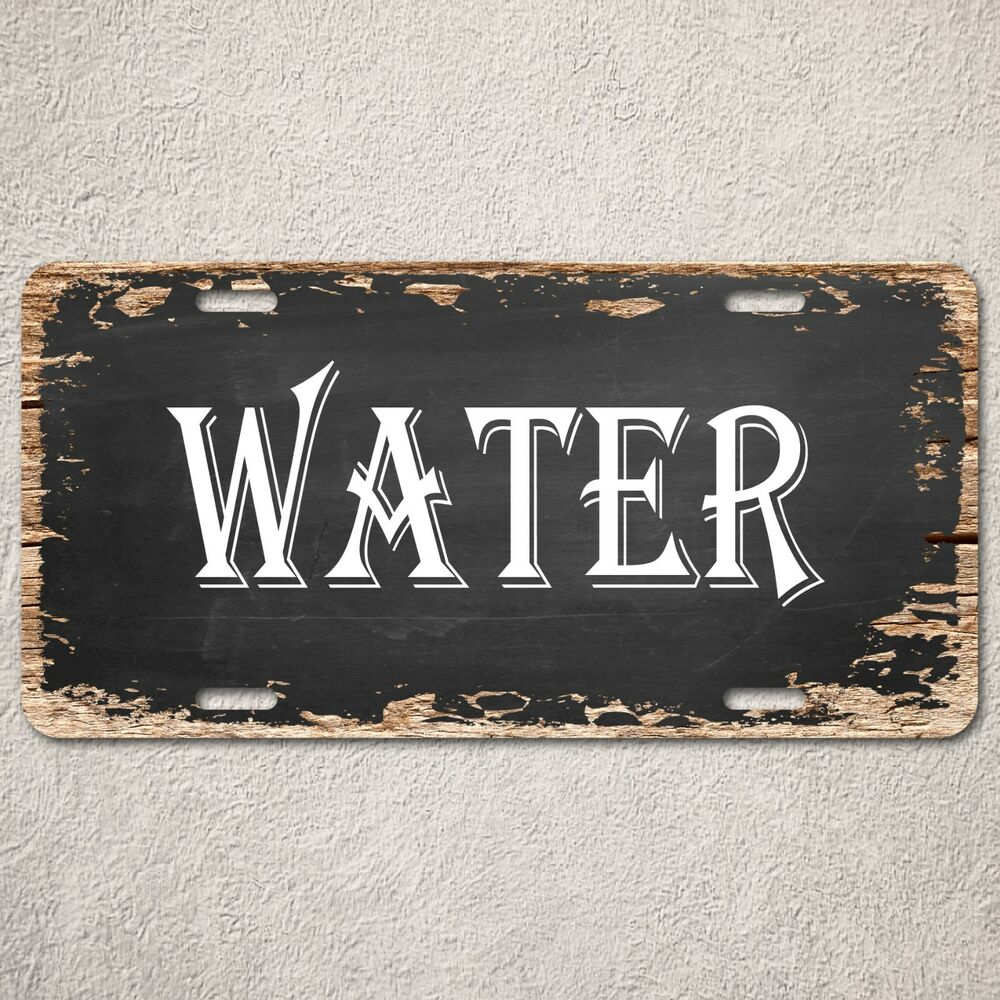 Rustic Bar Wall Decor : Lp water sign rustic auto license plate beach bar