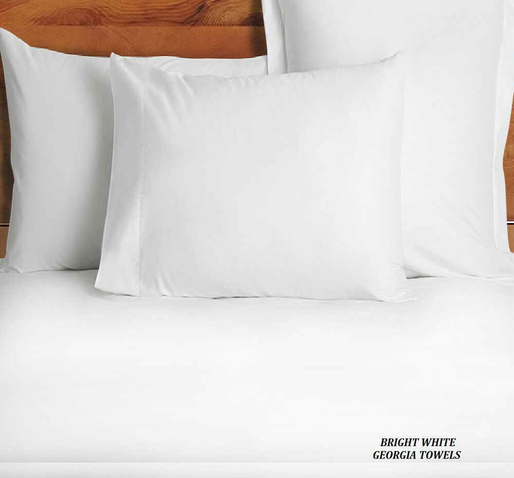 6 new white king size hotel pillow cases covers t 180 best deal premium ebay. Black Bedroom Furniture Sets. Home Design Ideas