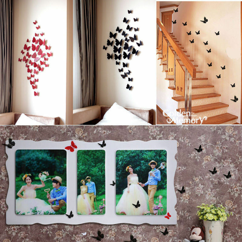 12x 3d wall sticker stickers beautiful butterfly home for Home decor 3d stickers