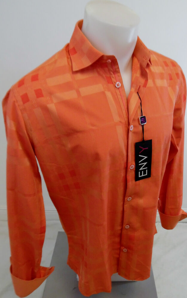 Mens Envy Long Sleeve Button Down Dress Shirt Peach Orange