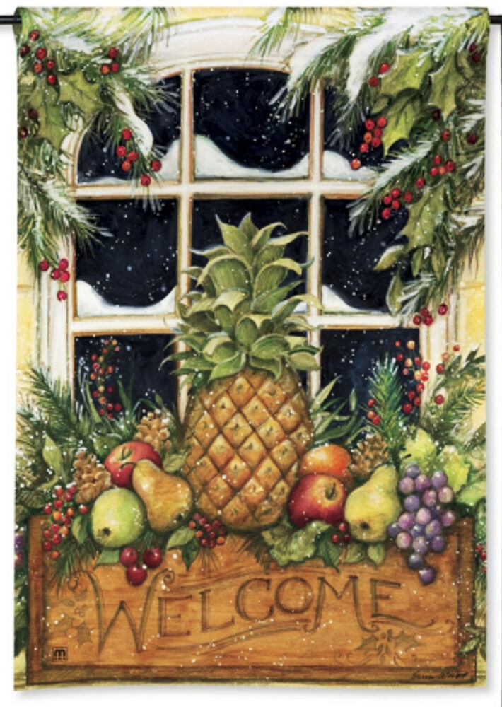 12 5 x 18 pineapple welcome window box holiday winter for Pineapple outdoor decor